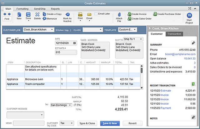 QuickBooks Estimate