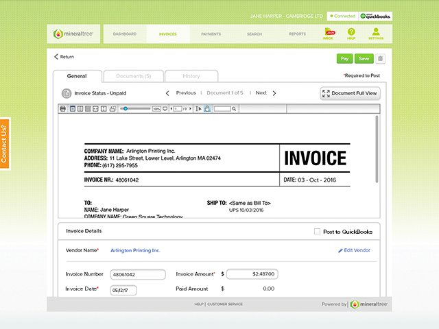 MineralTree QB Desktop Invoice Details