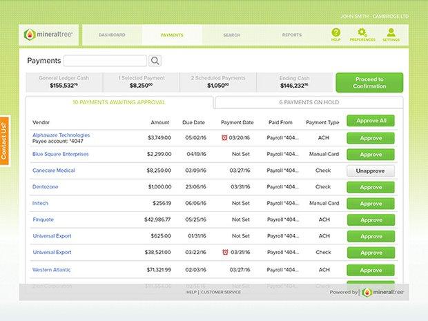 MineralTree QB Desktop CFO Payment Details
