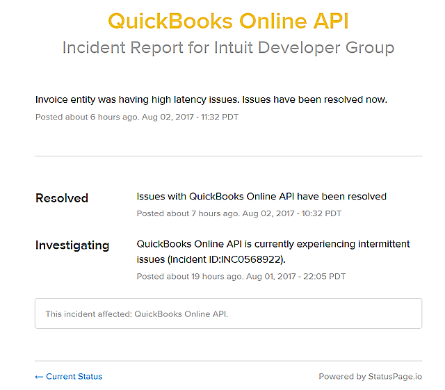 Tracking QBO Irregularities via the Intuit Developer Group