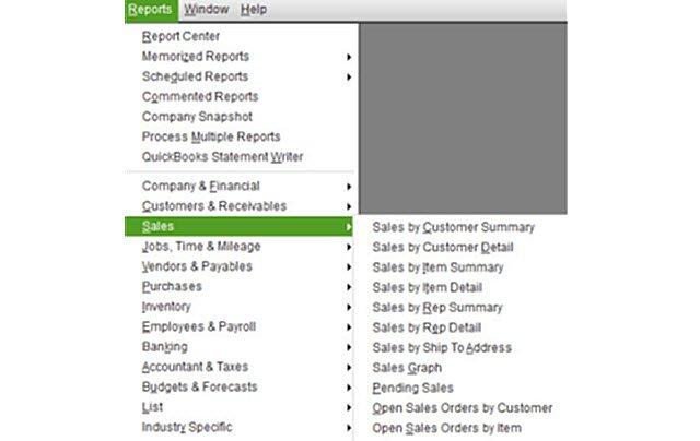 Sales Reports Menu Item