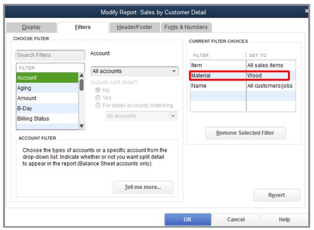 Report filtering