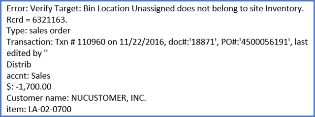 unassigned location error