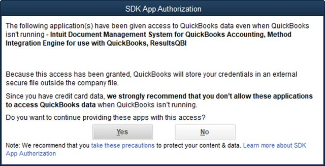 SDK App Authorization (in QB 2017)