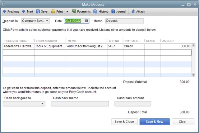 Void Check via Offsetting Deposit