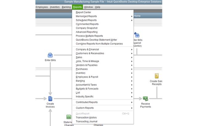 QB Report menu - parameter selection query