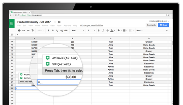 how to calculate the mean in google sheets