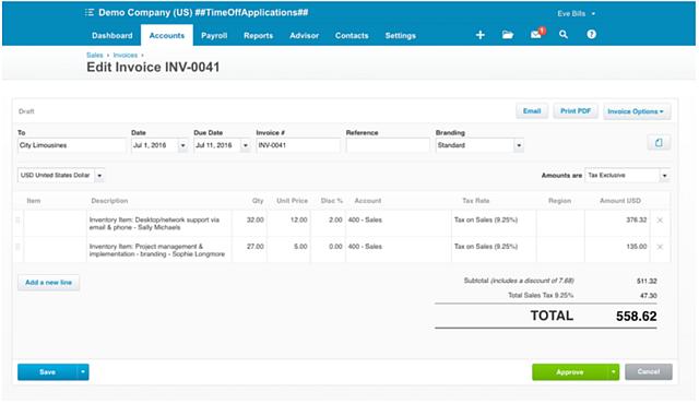 Xero GUI Invoice Example