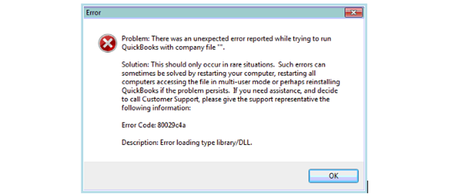 QuickBooks 80029c4a Error Continues to be reported