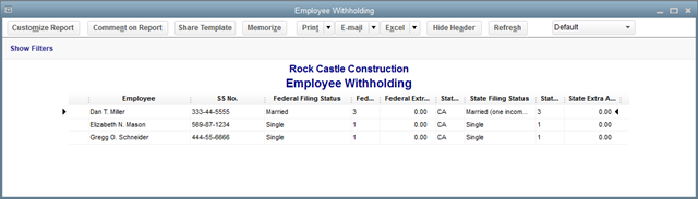 Employee Withholding Report