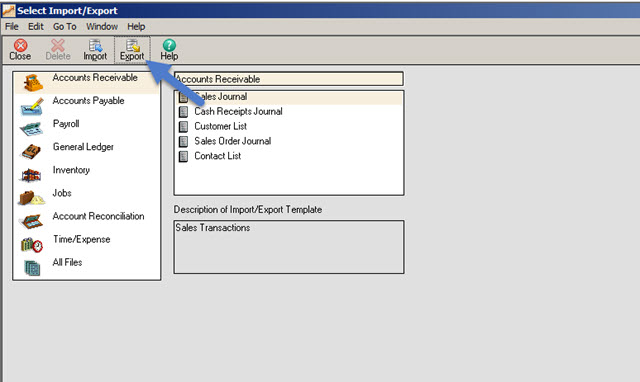 Exporting Data From Sage 50 US