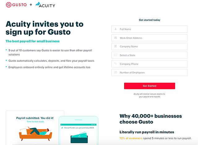 Gusto Client signup page