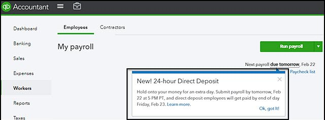 QBO Payroll 24-hour Direct Deposits