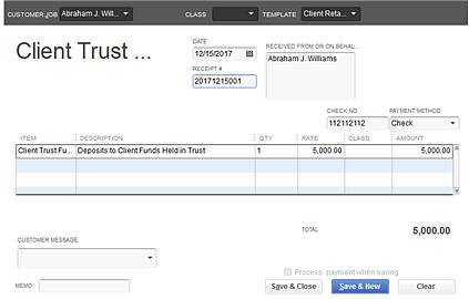 Typical Client Trust Funds Receipt (using a Sales Receipt)