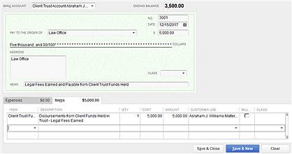 Sample Disbursement from Client Trust Funds (using a check)