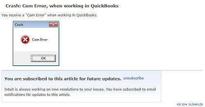 QuickBooks COM Error