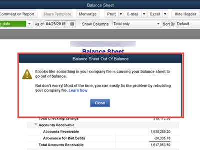 Out-of-balance Balance Sheet Warning