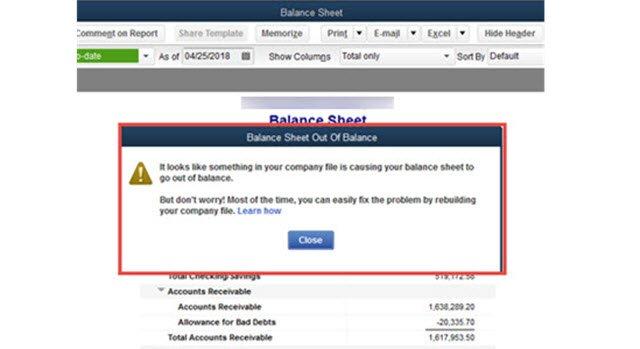 OOB Balance Sheet warning