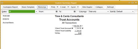Trust Account Report