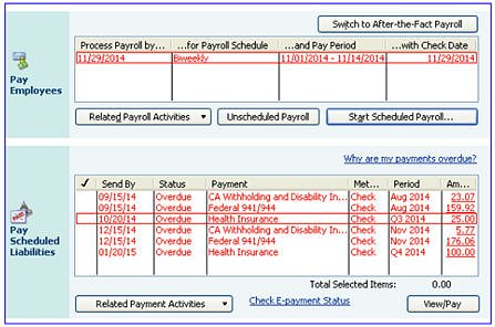 Payroll Center with Red Payroll Schedule