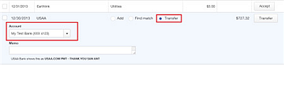 Newly Revised Bank Feeds - Transfer feature