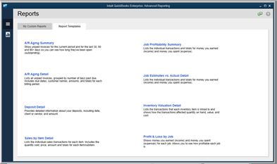 QuickBooks Enterprise Advanced Reporting Reports
