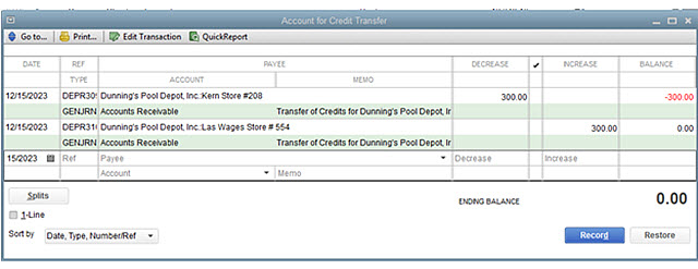 Image result for transfer credit in quickbooks 2019