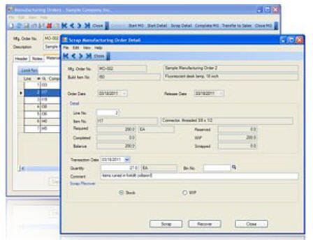 MISys Scrap and Waste Tracking feature