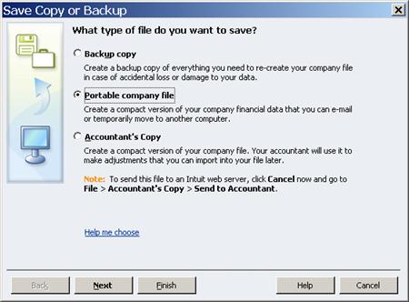 Save a Portable Company File