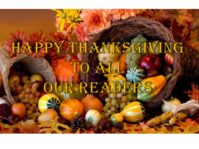 Happy Thanksgiving to our Readers (2018)