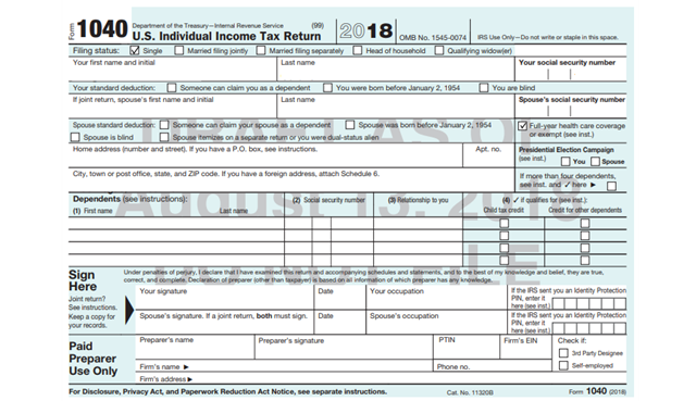 IRS 2018 Form 1040 Draft - page 1