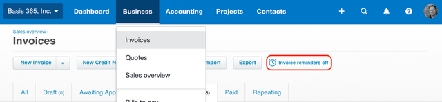 xero invoices reminders